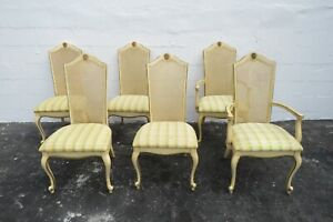 French Carved Painted Caned Back Set of Six Dining Chairs 2111