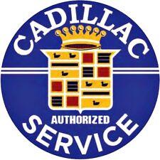 "Cadillac Service 12"" Round Metal Tin Sign Automotive Retro Home Garage Decor"