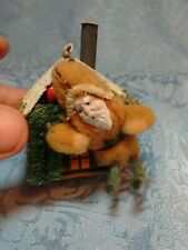 Antique Tiny Log Cabin Candy Container With Clay Faced Santa w/tree