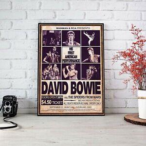 David Bowie 1972 His First USA Concert Art Poster Wall Art No Frame