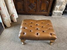 OLD/VINTAGE TAN BROWN LEATHER CHESTERFIELD FOOTSTOOL - GOOD CONDITION