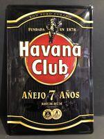HAVANA CLUB RUM RHUM RON PURO CUBANO EMBOSSED METAL ADVERTISING SIGN 30x20cm