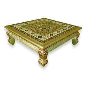 Persian Style low accent table vibrant colors Peacock design enameled 16 Inch