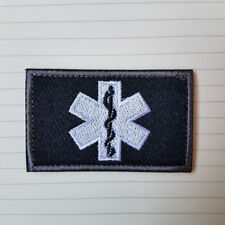 PARAMEDIC EMT EMS STAR OF LIFE MILITRAY TACITCAL HOOK PATCH EMBROIDERED ACU DARK