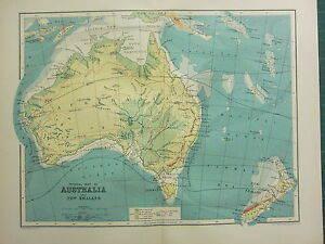 1904 ANTIQUE MAP ~ AUSTRALIA & NEW ZEALAND PHYSICAL OCEAN CURRENTS LAND HEIGHTS