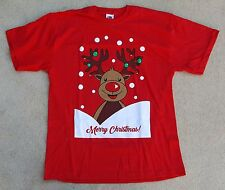 FRUIT Of The Loom Taglia Small Rosso Girocollo Merry Christmas Rudolph T Shirt
