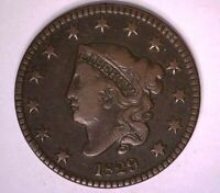 1829 N-2 Coronet Head Large Cent Very Fine VF Early Copper Coin