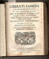 1757- 1761  ROMA  quattro trattati di Liberato Fassoni - AVVENTO DEI MAGHI...