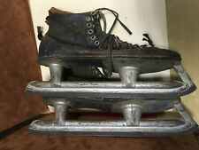 Old Antique Ice Skates Hockey Style Leather Shoes  Size 9