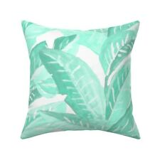 Mint Green Tropical Leaves Throw Pillow Cover w Optional Insert by Roostery