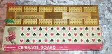 Vintage Inlaid Wood Cribbage Board With Pegs RETRO