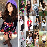 Toddler Kids Girls Headband T-shirt Pants Dress Skirt Summer Outfits Clothes Set