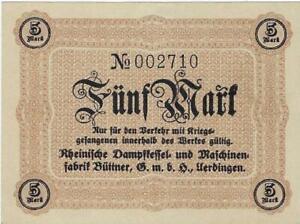 POW NOTE GERMANY--UERDINGEN - DAMPFKESSEL 6NER -5 MARK //836