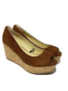 Ladies Next Shoes UK 5 Tan Brown Suede Open Toe Cork Platform Wedge EU38 Sandals