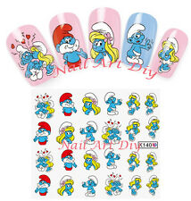 20 nail stickers water transfer-SMURFS-tattoo adesivi- PUFFI e PUFFETTA