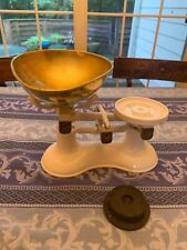 Vintage Victor England Cast Iron White Kitchen Chef's Scale with Brass Bowl.