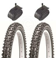 2 Bicycle Tyres Bike Tires - BMX / Mountain Bike - 20 x 2.125 - & Schrader Tube