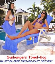 Sunlounger Towels Bag Beach with Pockets Sun Bed Cover Swimming Pool Travel Gift