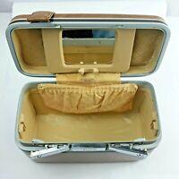Vintage Samsonite Brown & Chrome carry on Train Case NO Key Travel Bag Make up