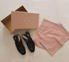 Miu Miu black satin sling back flat shoes Jewel trim Box + dustbags VGC UK 4.5