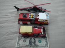 3 Lg. Vintage Majorette Vehicle Lot: Fire Engine, Helicopter & Excalibur: HTF
