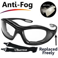 SAFEYEAR Safety Glasses Work Goggles Anti Fog Seal Eye Inner Foam Head Strap Z87