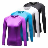 Women Sport Running Quick-dry Compression T-Shirts Long Sleeve Athletic Tee Tops