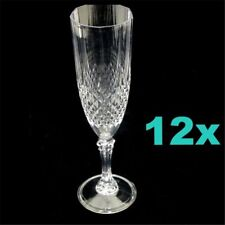 12 Clear Plastic Disposable Champagne Flutes Wine Drink Cup Glasses