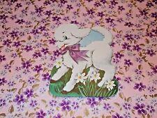 "Vtg Easter Lamb Purple Ribbon Diecut Cardboard Decoration 7"" Rare #1"