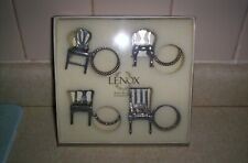 Lenox Boxed Steiff Pewter Napkin Rings Place Card Holders Williamsburg Chairs