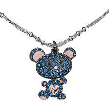 Collana Donna Guess Ubn11232 Ciondolo Orsetto con Pietre Blu e Smalto Rosa
