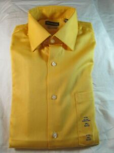 NWT VAN HEUSEN STRETCH FITTED TAPERED AT WAIST DRESS SHIRT CANARY YELLOW