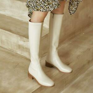 Womens Comfort Low Heel College Mid Calf Knee High Boots Biker Riding Shoes Lady