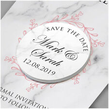 PERSONALISED Pink Marble Wedding Save The Date Cards Fridge Magnets Botanical