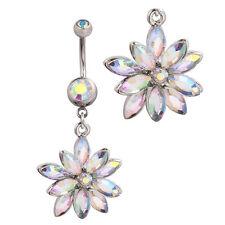 Rhinestone Flower Aurora Borealis Daisy Belly Button Ring USA SELLER FAST SHIP!!