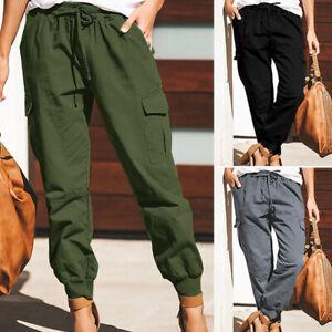 ❤️ Womens High Waist Cargo Track Pants Combat Pocket Joggers Trousers Bottoms US