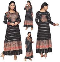 UK STOCK - Women Printed Bollywood Kurti Tunic Kaftan Top Shirt Dress KFT102A
