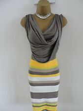 NEW Karen Millen Size 4 UK 14 16 STRETCH BANDAGE BODYCON DRESS IN YELLOW & GREY