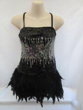 Black Silver Sequin Feather Dress Tap Jazz MT Dance Costume XS Adult XSA