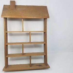 Vintage House Shaped Wood Curio Knick Knack Wall Display Shelf Miniatures Stand