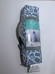Kids Play Fort Tent Pillowfort Pom Pom Teepee Blue And White/Outdoor Print-Logos