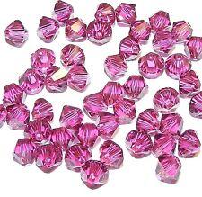 SCB330f FUCHSIA Pink 4mm Xilion (5328) Bicone Swarovski Crystal Beads 48/pkg