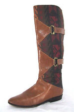 J Renee Boots Sz 6M Womens Brown Leather Southwestern Pull On Italy Shoes Boho