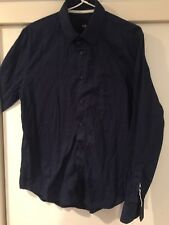 YD Men's Navy Button Front Shirt Size M Good Condition