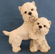 COUNTRY ARTISTS PAIR WEST HIGHLAND TERRIER WESTIES DOGS LARGE FIGURINE SCULPTURE