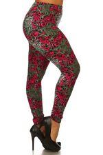Plus Size Leggings XL-2X Polyester Spandex Fuchsia Hypnotic Swirl KYRA RESERVED