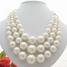 """18.5""""  3Strands 18mm White Sea Shell  Pearl Necklace"""