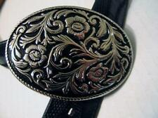 "Nocona Belt Genuine Lizard 1.5"" Wide D 565 Size 30 Repousse Silverplate Buckle"
