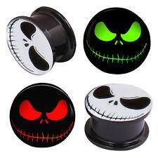 1 Pair Ghost Eyes LOGO Skull Double Saddle Ear Plug Gauge Flesh Tunnel Stretcher