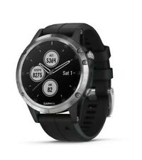 GARMIN Fenix 5 Plus Silver Black Band GPS HRM Sports Running Topo Maps Music NEW